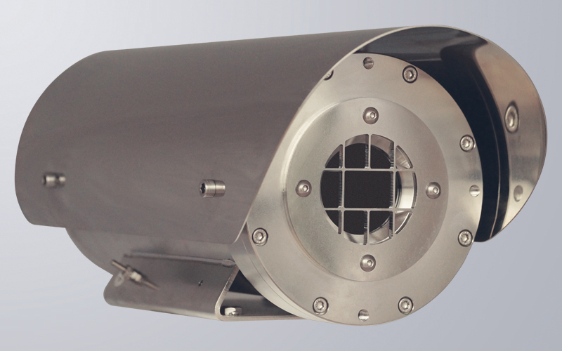 Electropolished 316L stainless steel housing with germanium window, grid-free housing available on request